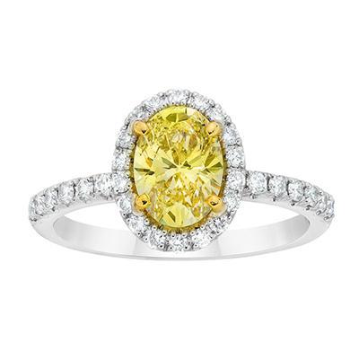 1.93 CT. TW. Oval Cut Fancy Light Yellow Diamond Ring in Platinum