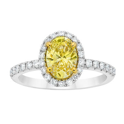1.93 CT. TW. Oval Cut Fancy Light Yellow Diamond Ring in Platinum
