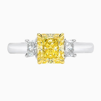 1.57 CT. TW. Radiant Cut Fancy Yellow Diamond Ring in 18k White Gold