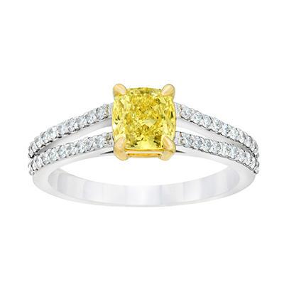 1.38 CT. TW. Cushion Cut Fancy Yellow Diamond Ring in Platinum