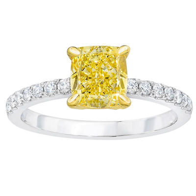 1.30 CT. TW. Cushion Cut Fancy Light Yellow Diamond Melle Ring in 18K White Gold