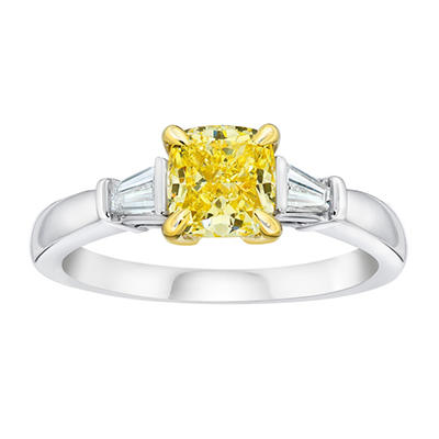 1.65 CT. TW. Cushion Cut Fancy Yellow Diamond Ring in Platinum