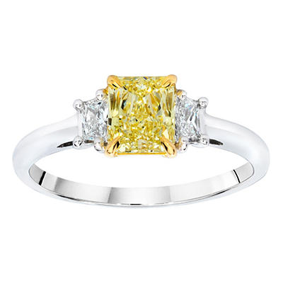 1.9 CT. TW. Radiant Cut Fancy Yellow Diamond Ring in Platinum