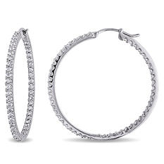 2 ct. t.w. Diamond Hoop Earrings in 14K White Gold