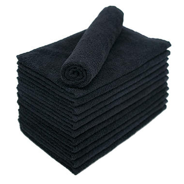 Bleachsafe® Salon Hand Towels - Black - 24 pk.