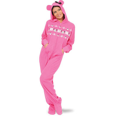 Ladies Micro Fleece One Piece Footed Pajama - Assorted Styles