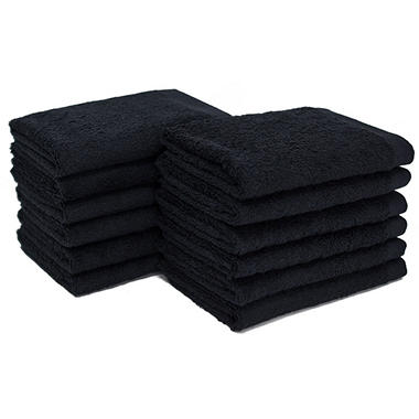 "Bleachsafe� 13""x13"" Wash Cloths -  Black - 24 pk."