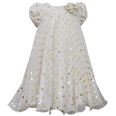 Ivory Gold Dot Crystal Pleated Dress