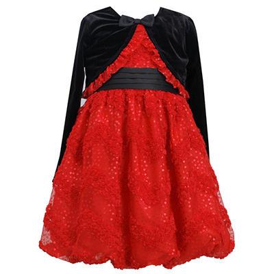 Jessica Ann Red Glitter Dress with Cardigan