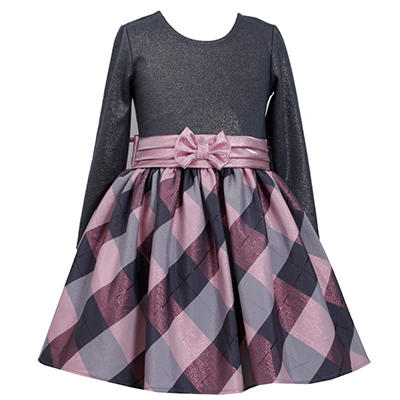 Jessica Ann Pink and Grey Taffeta Plaid Dress
