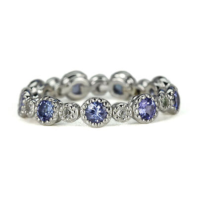 Sterling Silver Stackable Mimosa Ring in Your Choice of 8 Gemstones