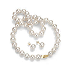 10-11 mm White Freshwater Pearl Necklace and Earring Set