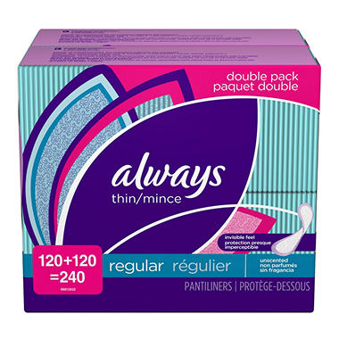 Always Thin Unscented Pantiliners - 240 ct.