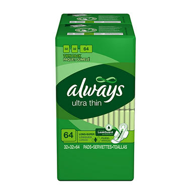 Always Long Super Ultra Thin Pads - 64 ct.