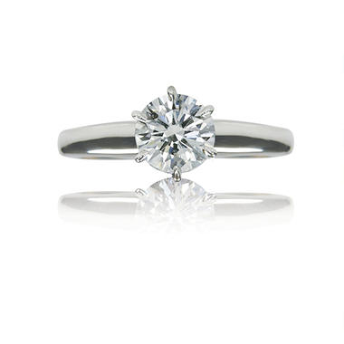 1.01 ct. Round Brilliant-Cut Diamond White Gold Solitaire Ring (G, VS2)