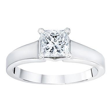 1 ct. t.w. Princess Cut Luxury Solitaire Diamond 14k White Gold Ring (GIA)