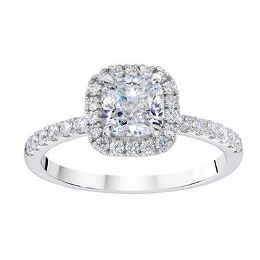 1.33 ct. t.w. Cushion Diamond Halo Mellee 14K White Gold Ring (GIA)
