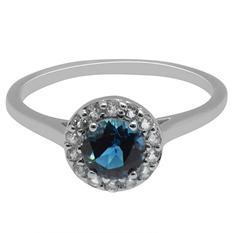 Gem RoManse London Blue Topaz and White Topaz Ring in Sterling Silver