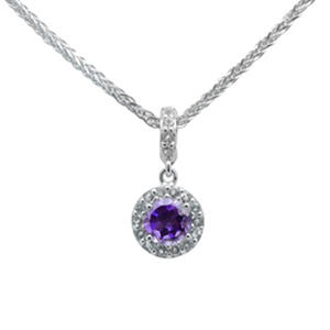 Gem RoManse Amethyst and White Topaz Pendant in Sterling Silver