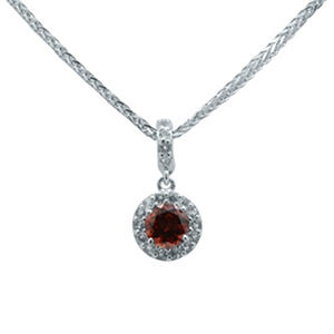 Gem RoManse Garnet and White Topaz Pendant in Sterling Silver