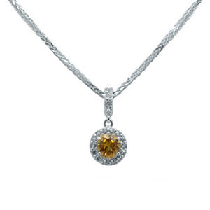 Gem RoManse Citrine and White Topaz Pendant in Sterling Silver