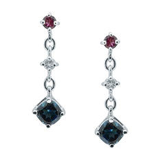 Gem RoManse London Blue Topaz, Rhodolite and White Topaz Earrings in Sterling Silver
