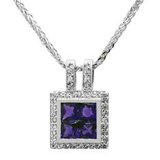 Gem RoManse Amethyst and White Topaz Square Pendant in Sterling Silver
