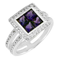 Gem RoManse Amethyst and White Topaz Ring in Sterling Silver