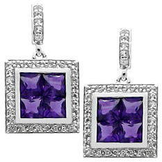 Gem RoManse Amethyst and White Topaz Square Earrings in Sterling Silver