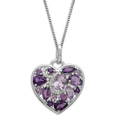 Amethyst Heart Pendant with Diamond Accent in Sterling Silver