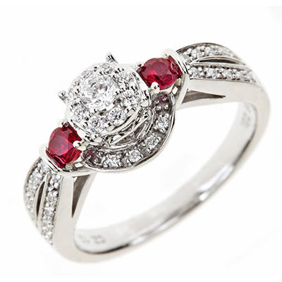 0.30 CT. T.W. Diamond and Lab Created Ruby Ring in Sterling Silver