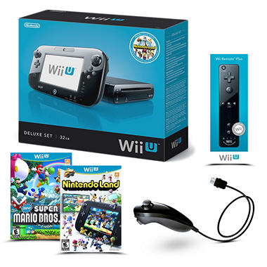 Black Wii U Deluxe 32GB Console (includes Nintendoland, 1 remote and 1 nunchuck) Starter Bundle