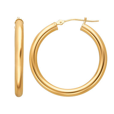14K Yellow or White Gold Hoop Earrings - 3mm x 31mm