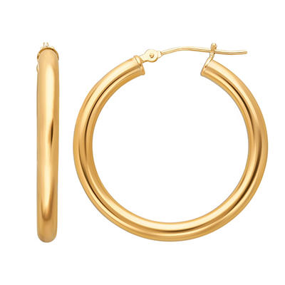 14K Yellow Gold Hoop Earrings - 3mm x 31mm