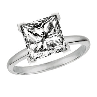 0.51 CT. Princess-Cut Diamond Solitaire Ring set in 14K White Gold (I, VS1)
