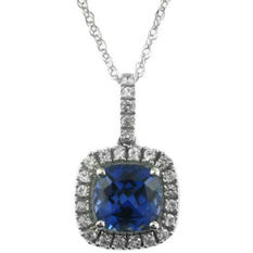 2.56 CT. Lab-Created Ceylon and White Sapphire Pendant in 14K White Gold