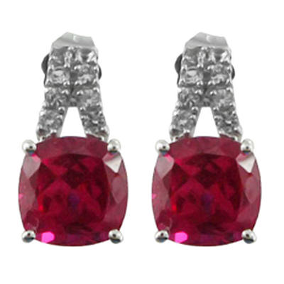 5.12 CT. T.W. Lab-Created Ruby and Lab-Created White Sapphire Earrings in 14K White Gold