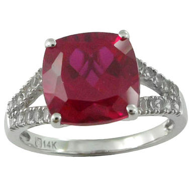 4.88 CT. T.W. Lab-Created Ruby and Lab-Created White Sapphire Ring in 14K White Gold