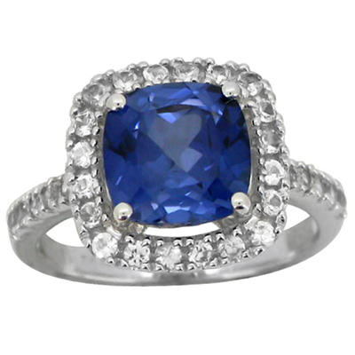 3.04 CT. T.W. Lab-Created Ceylon and White Sapphire Ring in 14K White Gold