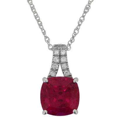 4.56 CT. Lab-Created Ruby and Lab-Created White Sapphire Pendant in 14K White Gold