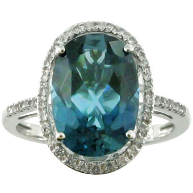 4.16 CT. T.W. Licensed Blue Topaz and Lab-Created White Sapphire Ring in 14K White Gold