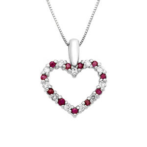 Ruby and Diamond Heart Pendant in (Assorted Colors)