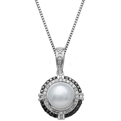 8mm Freshwater Cultured Pearl Pendant with 0.25 CT. T.W. Black and White Diamonds in Sterling Silver