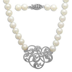 Freshwater Cultured Pearl Strand Necklace with 0.17 CT. T.W. Diamonds in Sterling Silver