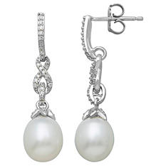 Freshwater Cultured Pearl Earrings with 0.17 CT. T.W. Diamonds in Sterling Silver