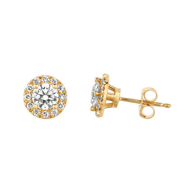 1.00 CT. T.W. Round-Cut Diamond Halo Earrings in 14K Yellow Gold (I, I1)
