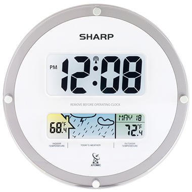 Sharp Suspended Glass Wall Clock - White