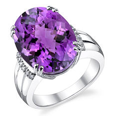 13  CT. Oval Amethyst and Diamond Ring in Sterling Silver