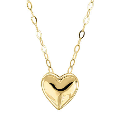 "19"" Teeny Tiny Heart Necklace in 14K Yellow Gold"