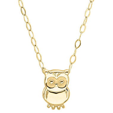 "19"" Teeny Tiny Owl Necklace in 14K Yellow Gold"